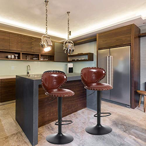 Adjustable Metal Leather Bar Stools Set of 2