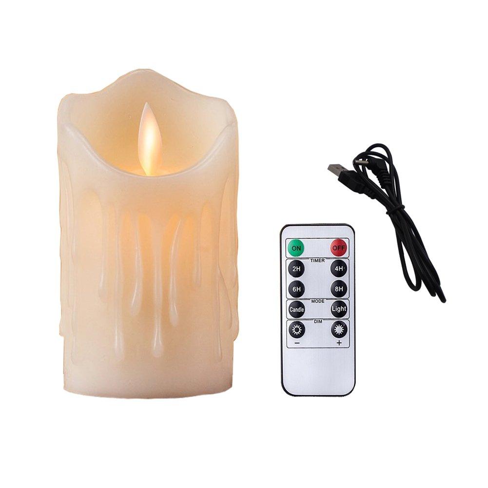 Bello Luna Candela senza fiamma ricaricabile a LED a forma di onda a forma di candela a fiamma piatta da 4, 9 pollici con telecomando ELE_L_Candle_004