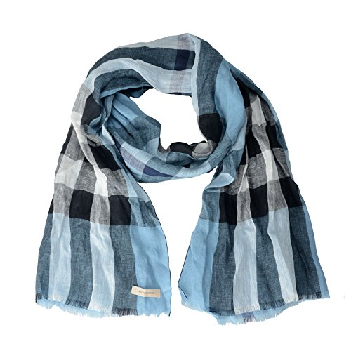 Burberry Unisex 100% Linen Plaid Multi-Color Lightweight Scarf by BURBERRY