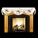 Linens, Art and Things Embroidered Fireplace Mantel Scarf with Rooster and Hen 19'' x 90''