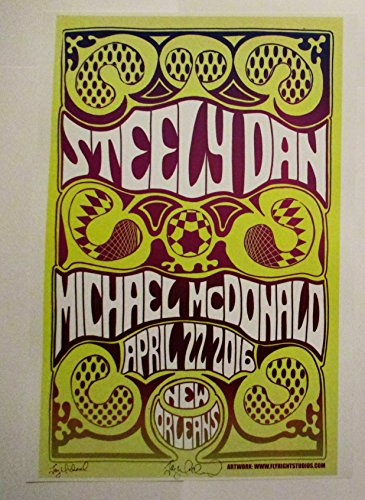 2016 Steely Dan Michael McDonald New Orleans Concert Poster Autographed