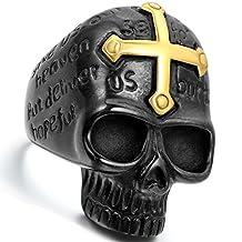 Flongo Men's Punk Rock Stainless Steel Ring Black Gold Skull Cross Bible Lords Prayer Gothic Band