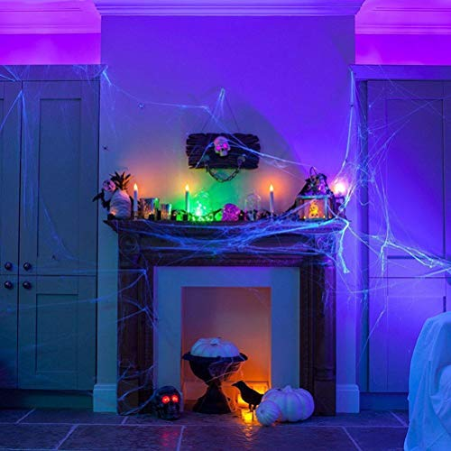 5PCS Halloween Scary Party Scene Props Purple Stretchy Cobweb Spider Web Horror Halloween Decoration for Bar Haunted House by BERTERI