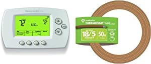 Honeywell Home Wi-Fi 7-Day Programmable Thermostat (RTH6580WF) & Southwire 64169622 5 Conductor 18/5 Thermostat Wire, 18-Gauge Solid Copper Class 2 Power-Limited Circuit Cable, 50-Feet, Brown