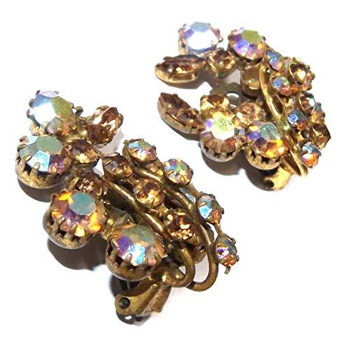 Vintage Mid-Century Modern Flowerform Signed Star Aurora Borealis Rhinestone - Rhinestone Earrings Signed