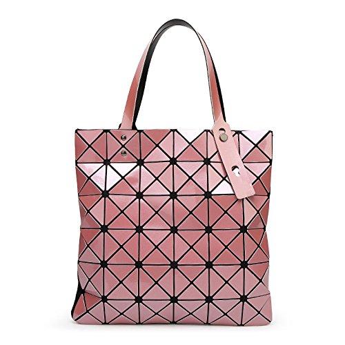 Señoras Geométricas Lingge Bolso De Mano Cuero De La PU Bolso Del Hombro Diseñador De Las Mujeres Bolso De La Manija Superior Pink