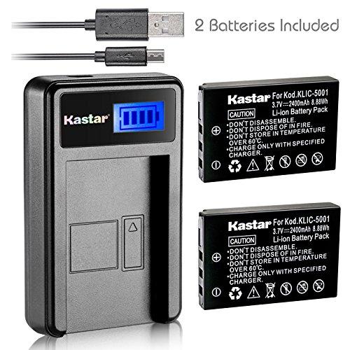 (Kastar Battery (X2) & LCD USB Charger for Kodak KLIC-5001 and Easyshare P712 P850 P880 Z730 Z760 Z7590 DX6490 DX7440 DX7590 DX7630 Sanyo DB-L50 DMX-WH1 HD1010 FH11 HD2000 VPC-WH1 HD2000 HD1010 HD1000)