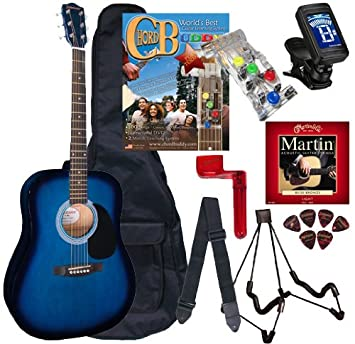 Chord Buddy guitarra acústica Paquete de principiante con tamaño completo Johnson jg-610 Bundle - Blueburst: Amazon.es: Instrumentos musicales