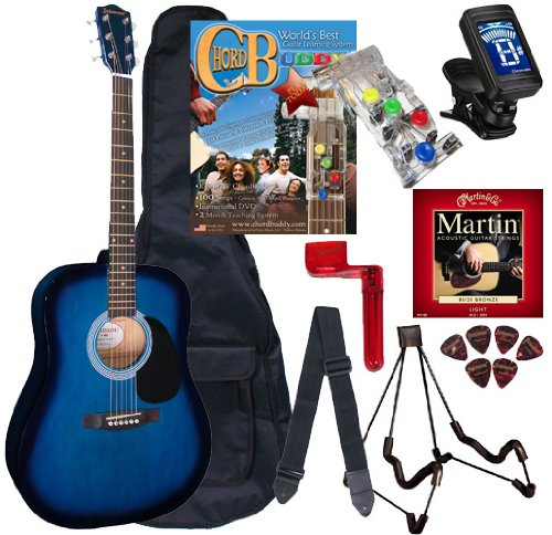 Tank Buddies 100 Tab (Chord Buddy Acoustic Guitar Beginners Package with Full Size Johnson JG-610 Bundle - Blueburst)