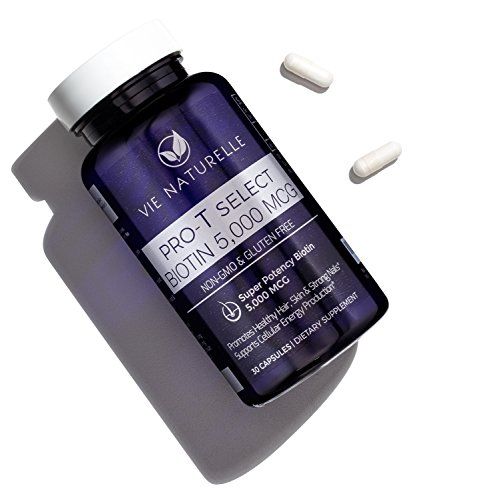Biotin for Hair Growth Vitamins 5000 mcg - Vie Naturelle - Super Potency Hair Skin and Nails Vitamin - 30 Day Capsule Supply