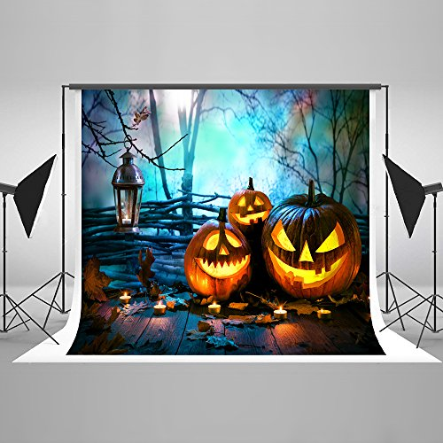 Kate 7ft(W) x5ft(H) Halloween Pumpkins on Wood Photography Background Night Spooky Forest Backdrops for Halloween Props Background Cotton Cltoh ()