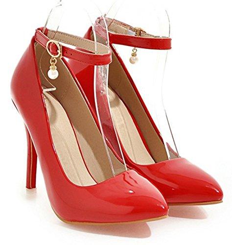 Aisun Womens Trendy Perlé Stiletto Talon Haut Bruni Habillé Boucle Bout Pointu Pompes Chaussures Avec Bride À La Cheville Rouge