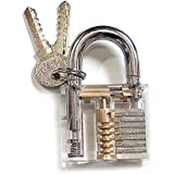 KINGLAKE Crystal Professional Visible Cutaway of Padlocks Lock for Locksmith Lock Training Trainer with 2 keys Good for Beginners