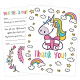 Rock Era Inc 25 Unicorn Thank You Cards Kids will Love these Cute 5x7 Inch Fill in the Blank Thank You Notes with Envelopes