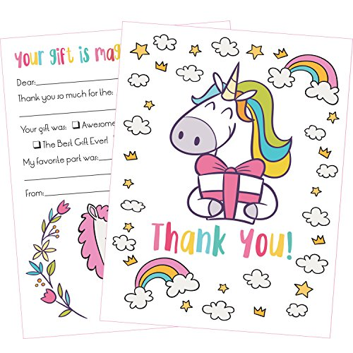 25 Unicorn Thank You Cards Kids Will Love These Cute 5x7 Inch Fill in The Blank Thank You Notes with Envelopes -