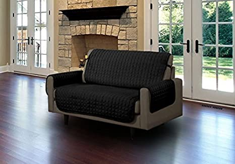 Linen Store Quilted Microfiber Pet Furniture Protector Cover with Tucks and Straps Black Sofa