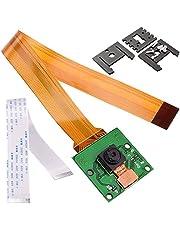 Kuman Módulo Cámara para Raspberry Pi de 5MP 1080p con Sensor OV5647 y cable de 15 Pin FPC + Cable plano Pi Zero de 15cm + 3 Montajes ajustables de la cámara para Raspberry Pi 3 B+ A+ Pi Zero SC09
