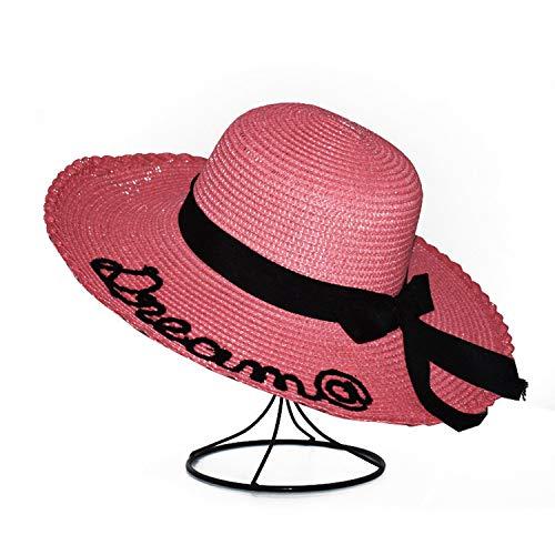 Round Top Raffia Wide Brim Straw Hats Summer Parent-Child Sun Hats for Women with Leisure Beach Hats Lady Flat Gorras,04,Child50-54Cm