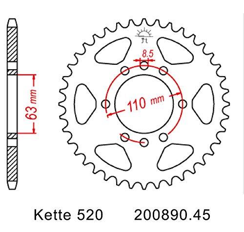 Kettensatz geeignet f/ür KTM Duke 125 ABS 14-19 Kette RK DD 520 MXZ4 112 offen ORANGE 14//45