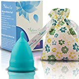 Athena Menstrual Cup - #1 Recommended Period Cup Includes Bonus Bag - Size 2, Solid Blue - Leak Free Guaranteed!