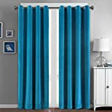 peace door beads - SeeSaw Home Supersoft Solid Grommet/Eyelet Top Thermal Insulated Eco-friendly Heavy Velvet Window Curtain Drapes, Blue, 50W By 63L inch,1 panel
