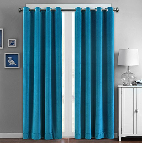 SeeSaw Home Supersoft Solid Grommet/Eyelet Top Thermal Insulated Eco-friendly Heavy Velvet Window Curtain Drapes, Blue, 50W By 63L inch,1 panel