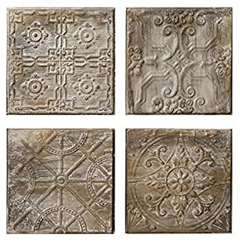 (4 Pc Embossed Tin Tiles with an Antique Finish)