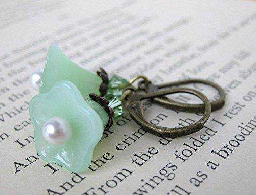 Vintage Peridot Pearl Flower Earrings. Morning Glory. Antiqued Brass, Swarovski Crystal