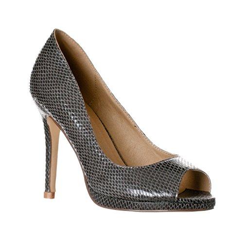 (Riverberry Women's Julia Slight Platform Open Toe High Heel Pumps, Grey Snake, 9)
