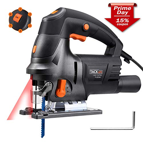 - Tacklife Upgraded 6.7 Amps 3000 Rpm Jig Saw with Laser Guide, Variable Speed, Double Bevel Cutting(0-45°), Vacuum Pipe, Ideal for Cutting Wood, Plastic, Aluminium - PJS04A