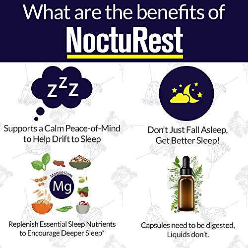 NoctuRest Natural Sleep-Aid with Valerian and Melatonin - All-Natural Liquid Formula for 2X Absorption - Magnesium, L-Theanine & More