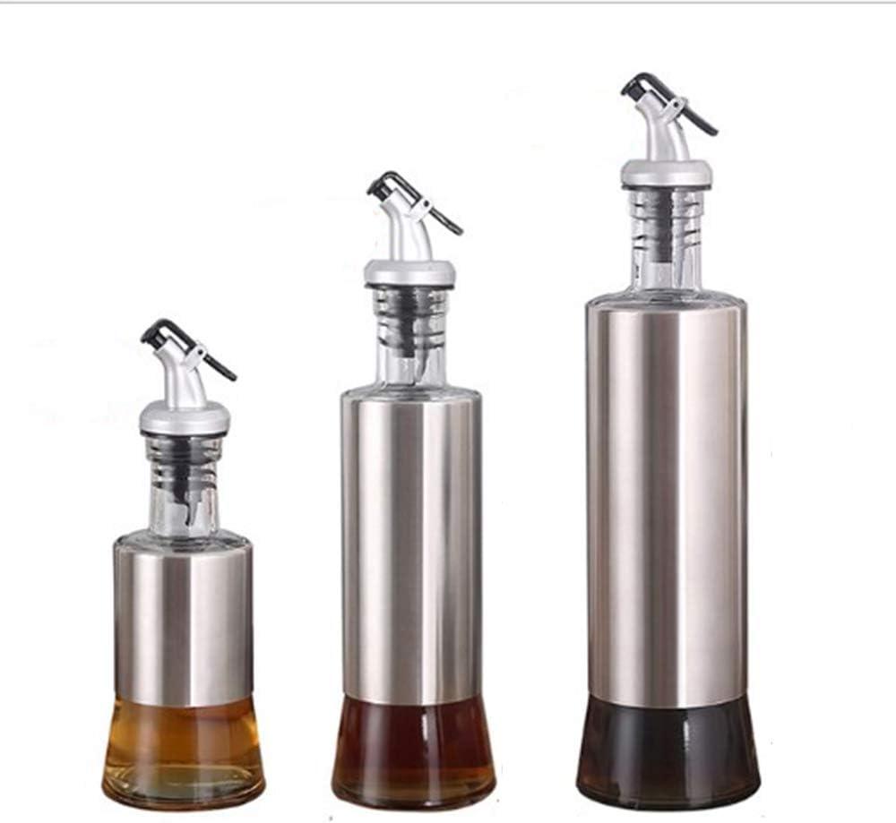 Sauce 300ml Leak Proof Oil Dispenser with Pourer Spout Glass Stainless Steel Bottle for Vinegar Sesame Oil Liquor EXBOM 3 Pack Olive Oil Dispenser 10 OZ Oil Dispensing Set Bottle for Kitchen