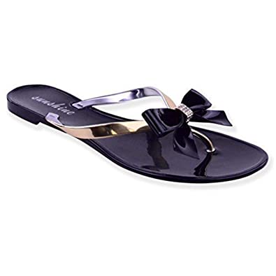 71d86f7b692f2 Fashion Thirsty Womens Ladies Diamante Toe Bow Jelly Summer Flat FLIP Flop  Thong Sandals Size  Amazon.co.uk  Shoes   Bags