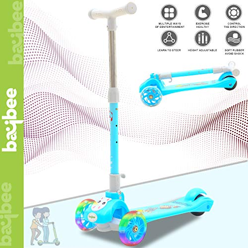 Baybee Skate Scooter for Kids Toddlers 3 LED Wheels Lightweight-Folding Kick Kids Scooty Scooter Tricycle for Indoor & Outdoor Fun with Brake Cycle for Kids with Adjustable Height Age 3-8(Blue) Price & Reviews