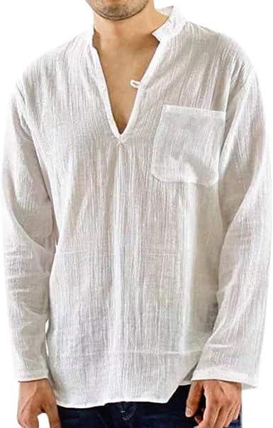 Blusas Hombre Manga Larga cómodo y Transpirable Camisetas Hombre Manga Larga Camiseta de algodón y Lino para Hombre Color sólido Camisa Hombre Slim fit Camisas Casual para Hombre: Amazon.es: Ropa y accesorios