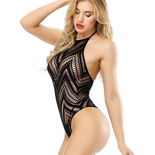 Advoult Womens Lingerie Sexy Bodysuit Fishnet Bodystocking Halter Teddy Underwear with Pasties