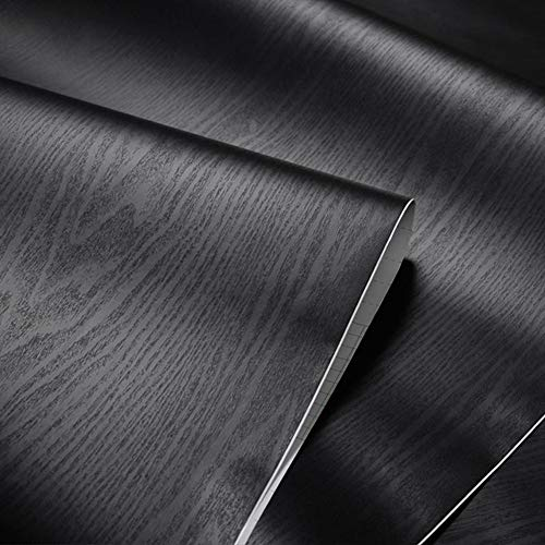- Black Wood Grain Adhesive Paper Vinyl Stickers Wallpaper Cabinets Wardrobe ,15.8inch X 79inch (Black)