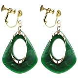 Fashion Green Acrylic Clip on Earrings Large Teardrop Metal Round Circle Dangle for Girls Women