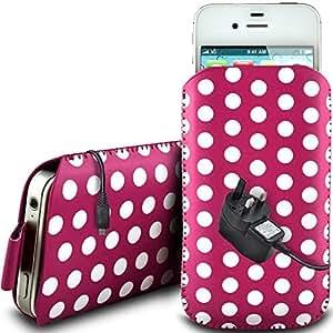 Online-Gadgets UK - Alcatel One Touch Idol de protección pu Polka de cuero con cremallera diseño antideslizante de cordón en la bolsa del caso con cierre rápido y Mains CE Cargador - Rosa