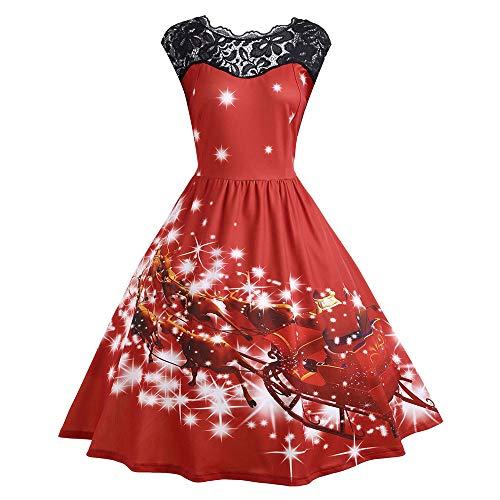 Sunhusing Ladies Christmas Horse-Drawn Sleigh Print Party Dress Lace Stitching Sleeveless Pleated Swing Dress