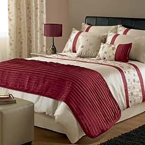 Dreams 'N' Drapes Lola - Funda nórdica (200 x 200 cm) y 2 fundas de almohada (75 x 50 cm) para cama doble, diseño de rayas y flores, color rojo y beige