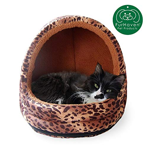 Furhaven Pet Cat Bed | Hooded Tent House Cave Animal Fur Print Dome Lounger Hood Pet Bed for Cats & Small Dogs, Leopard, One-Size (Cat Bed Leopard)