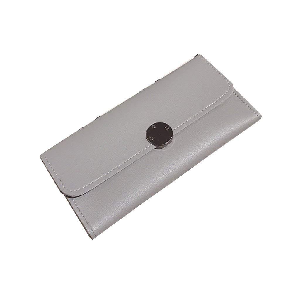 B Soft The New Retro Fashion Round Card Solid color Wallet Small Bag Simple Long Ladies Wallet Handbag (color   B)