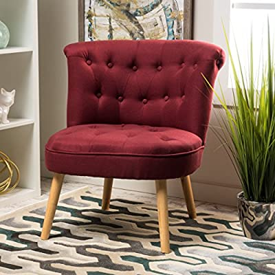 "Donna Mid Century Fusion Deep Red Button Tufted Fabric Chair - Includes: One (1) Chair Dimensions: 29.00""D x 29.00""W x 31.75""H Color: Deep Red - living-room-furniture, living-room, accent-chairs - 51vHr6dvmVL. SS400  -"