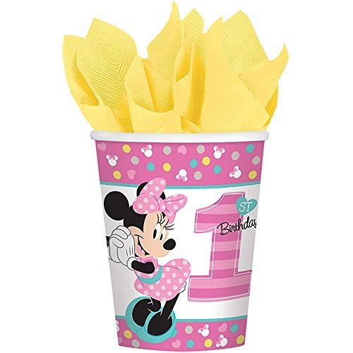 Fun 9 Ounce Cups - 1st Birthday Minnie Mouse 9 oz Paper Cups 8 count Party Supplies Minnie Fun to be One!