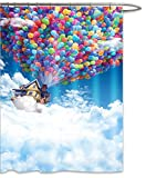 FOOG Balloon Shower Curtain Sets by Fantasy Fabric Colorful Hot Air House Fly in the Sky Cute Kid Fabric Mildrew Resistant Waterproof Funny Bathroom Curtains-Blue White Red Green Yellow (70'' Wx78 L)