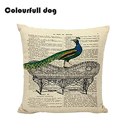 Amazon.com: gewespe 2017 New Peacock Cushion Covers Euro Pet ...