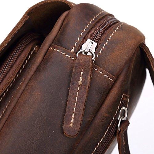 Sports Leisure Horse Chest Messenger Men's Brown Crazy Leather Shoulder Vintage Bag w0xOB8UOq
