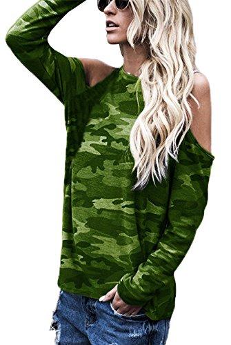 Blouses et paule Longues Printemps Deeparmy Rond Col Vert Camouflage Onlyoustyle Automne Shirts Haut Tops Casual T Femme Fashion Manches Dnude wTn1q