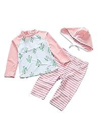 bbd3cf6f47 Zulaniu Baby Girl Long Sleeve Swimsuit Kids Three Piece Swimwear with Hat